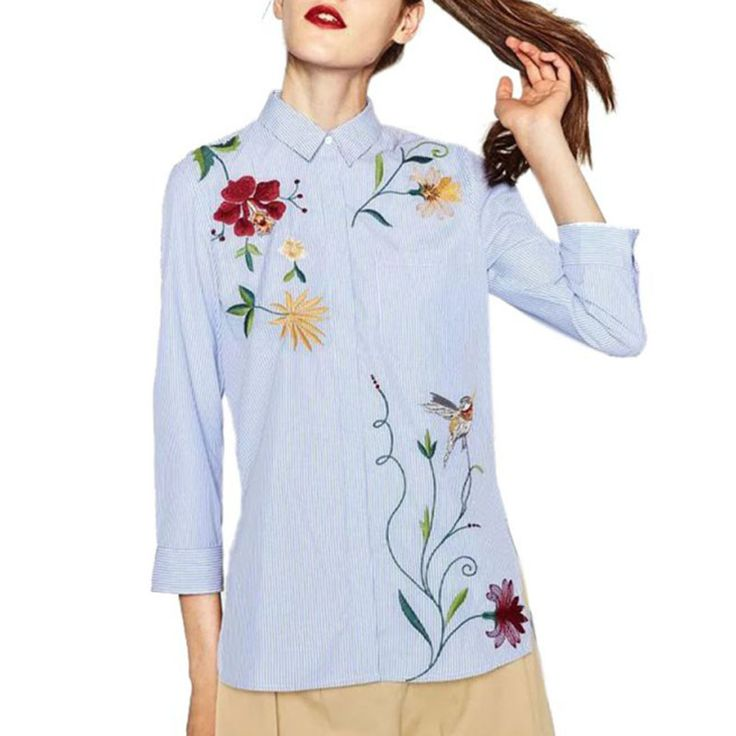 Women Vintage Casual Embroidery Blouse Girl Loose Sleeve Long Shirt  Floral Striped Tops New 2017