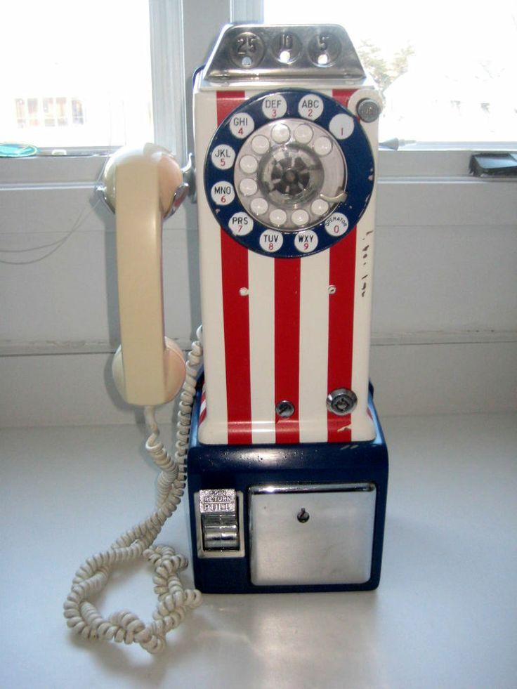 Vtg 1976 BICENTENNIAL Payphone Red White Blue US Flag ...