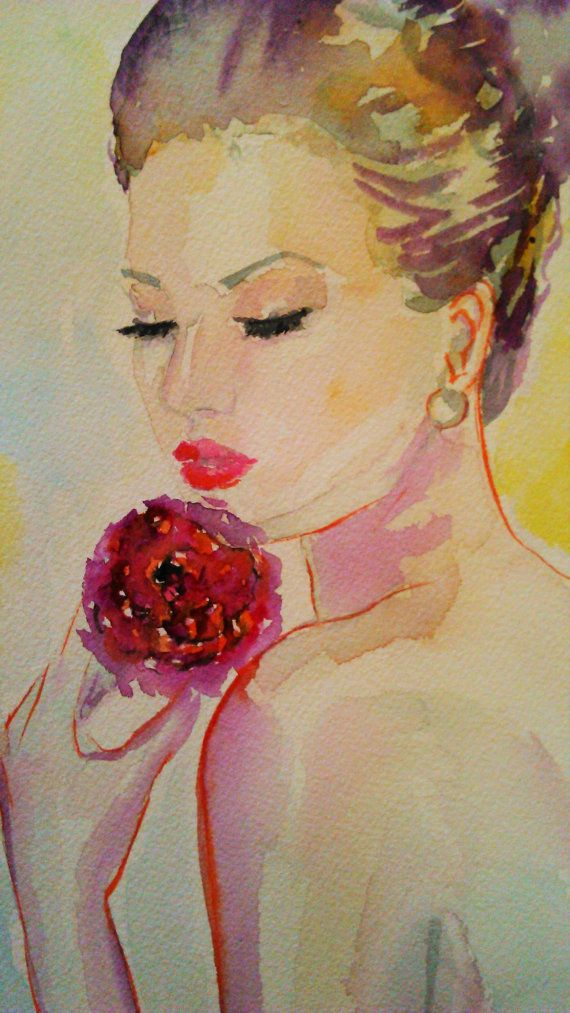 Original fashion watercolorwoman with flowerwatercolor