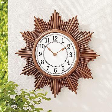 Sunburst Outdoor Wall Clock