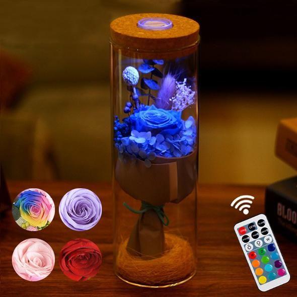 Led Rgb Dimmer Lamp Rose Flower Bottle Light With Remote Control Flower Bottle Flower Lamp Bottle Lights