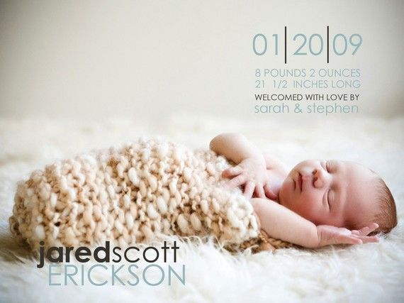 Current favorite baby announcement design by WestWillow on Etsy.