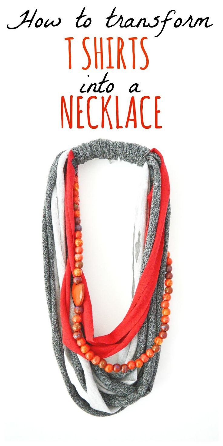 Transform old stained t shirts onto stylish fun necklaces. Step by step tutorial this a quick and easy recycled t shirt craft.