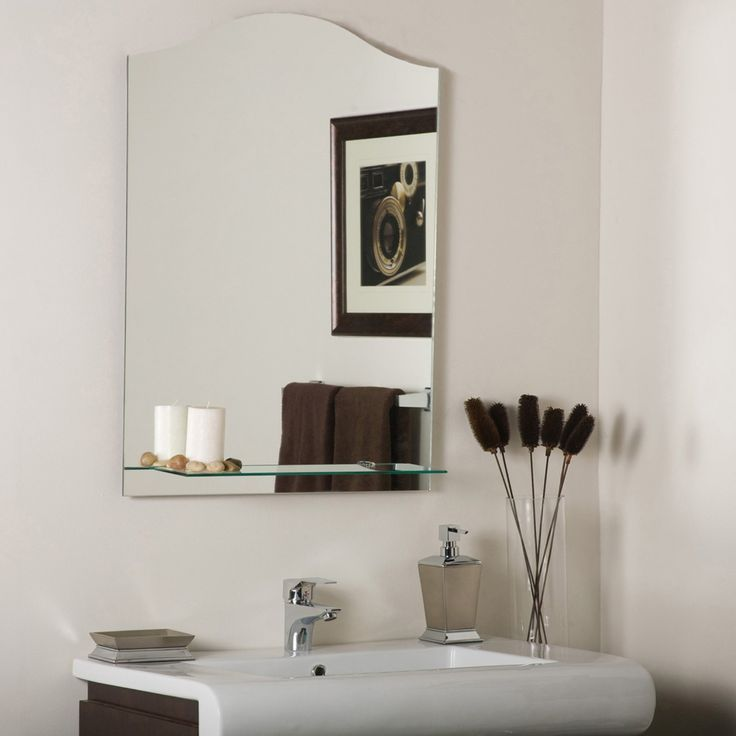 Image Gallery For Website D cor Wonderland Abigail Modern Frameless Bathroom Mirror with Shelf SSM