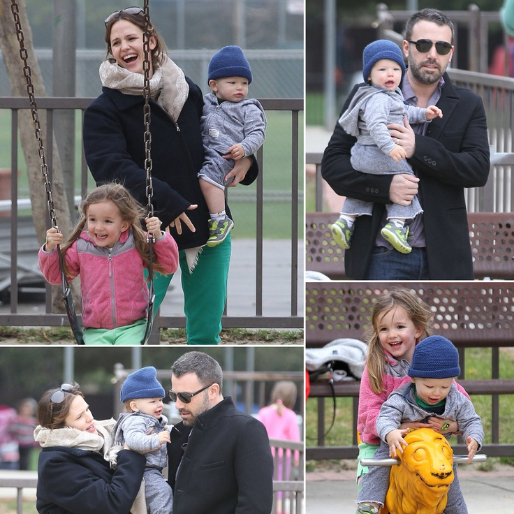 Ben Affleck and Jennifer Garner with kids happy