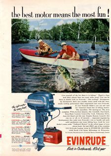 Vintage 1953 Evinrude Outboard Boat Motor Fishing Boating Man Cave Print Ad