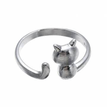 Lovely Cat Adjustable 925 Sterling Silver Finger Ring