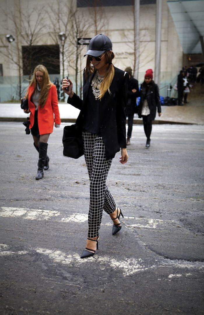 black blazer + baseball cap + checked trousers