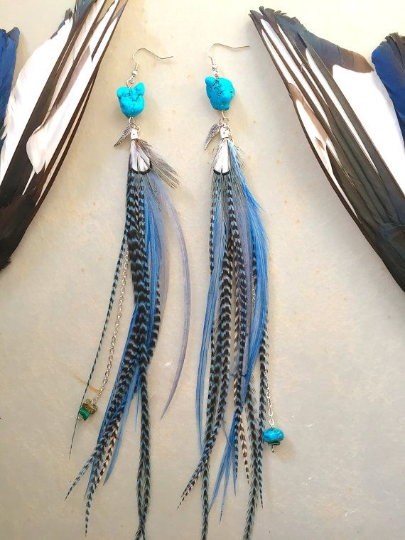 Turquoise stone and layered blue/sage feathers by nateahstudios