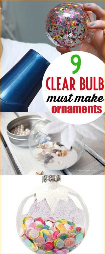 9 Clear Ornament Fillers.  9 different ways to decorate a glass ornament.  Christmas DIY ornaments to make with your family.