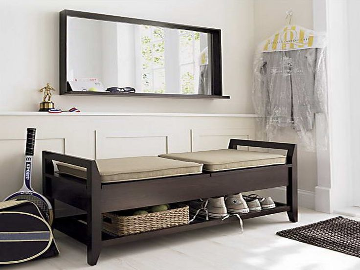 furniture modern black colored wooden entryway bench one rack for shoe and small wicker basket storage bench with lifted foam seat rectangle wall mirror