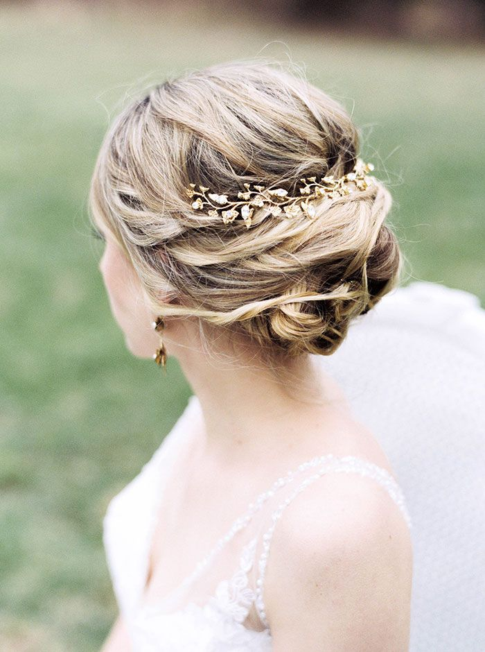 Love This Simple Yet Intricate And Elegant Wedding Updo With Gold Hair Piece Accent Gold Hair Piece English Garden Style Styled Shoot