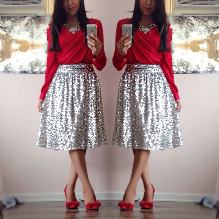✨Modest Holiday Outfits✨ Silver midi sequin skirt! - My Style ...