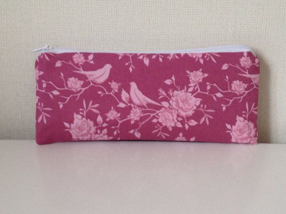 Birds and flowers pencil case  Tilda spring by HomeChicHomeGifts