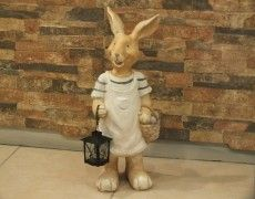 Decorative Basket Rabbit Statue