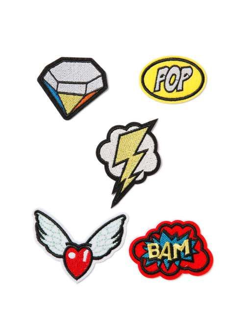 Lightning And Diamond Iron On Badge Pack* - Trending Now - New In - TOPMAN EUROPE