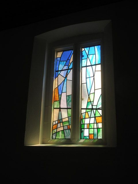 Modern stained glass window on the south  wall at St Wilfrid's, Cowplain (1) by Basher Eyre, via Geograph