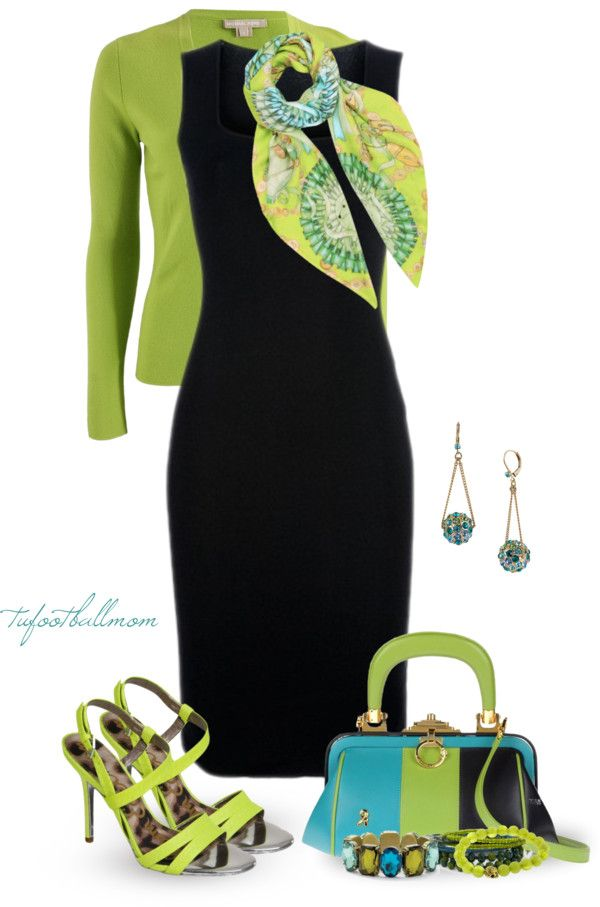 """Little Black Dress for Spring"" by tufootballmom on Polyvore Always love a black dress with color; already have several... I do wear a dress to church every Sunday."