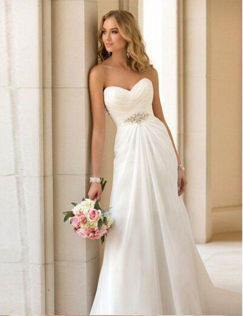 Item Type: Wedding Dresses Waistline: Empire is_customized: Yes Brand Name: ADLN Dresses Length: Floor-Length Neckline: Sweetheart Silhouette: A-Line Sleeve Length: Sleeveless Wedding Dress Fabric: Ch