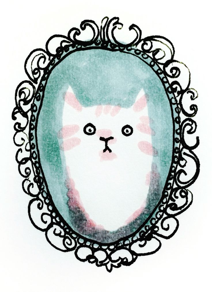 In the mirror by Marie Åhfeldt, Mås Illustra. www.masillustra.se #cat #mirror #illustration #masillustra #design