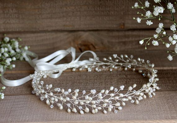 Gypsophila halo bridal crown forehead wedding by JoannaReedBridal