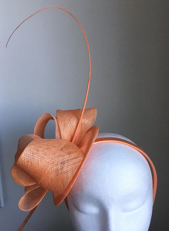 TheHeadwearBoutique on Etsy- Cara Tangerine   Salmon Orange   Light Orange  Spring Racing Fascinator Headband 19a47e43fd7