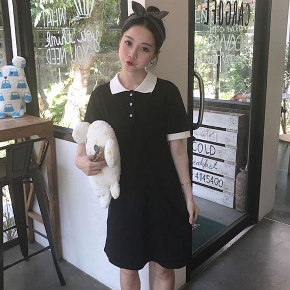 봄과 여름 2017 새로운 새로운 도착 대학 바람 색상 폴로 칼라 높은 허리가 얇은 다시 짧은 소매 드레스 여성 학생했다