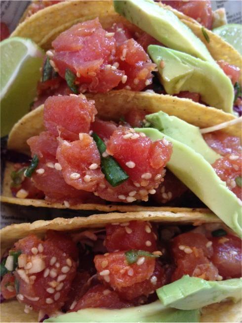 Kiki s kitchen ahi poke crispy tacos w spicy slaw for Tuna fish tacos