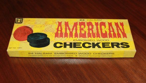 Vintage Halsam American Embossed Wood Checkers Set Midcentury Game, only $18 at Chelsea Morning by poetsy