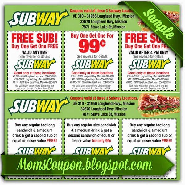 printable Subway coupon 10 February 2015
