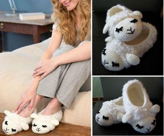 Lamb Chop Crochet Slippers Free Pattern