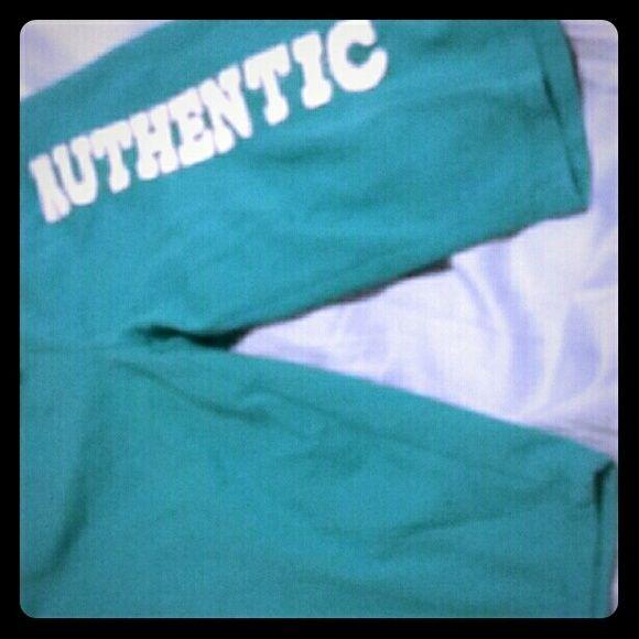 {BUNDLE ONLY} Sleep teal shorts Bermuda cut euc Teal colored shorts, says 'authentic' on leg Must bundle Intimates & Sleepwear