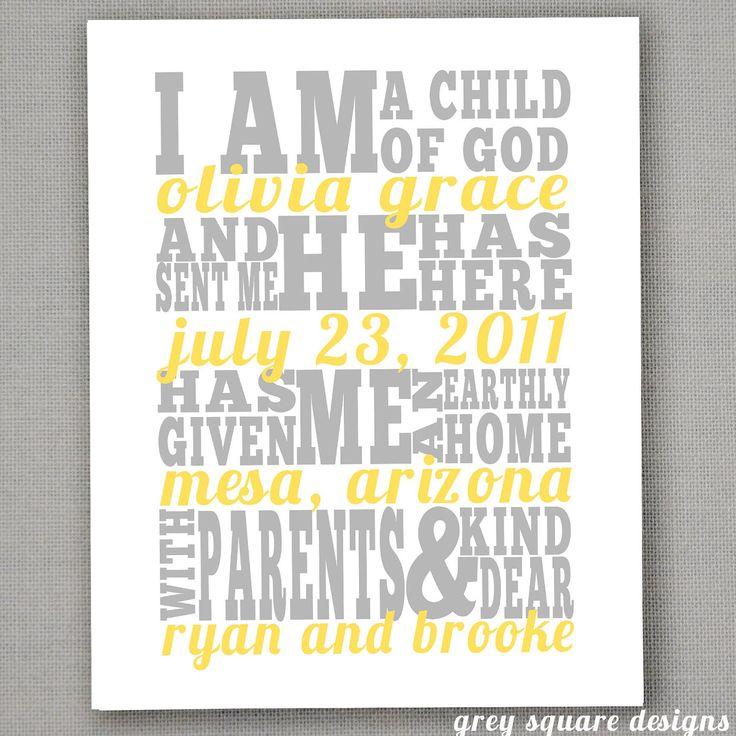 "Personalized ""I am a Child of God"" subway art"