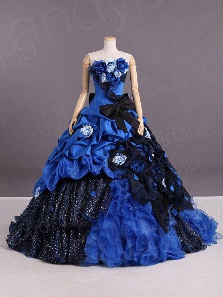 カラードレス ロイヤルブルー プリンセスライン お花ドレス お色直し 花嫁ドレス リボン vj0149