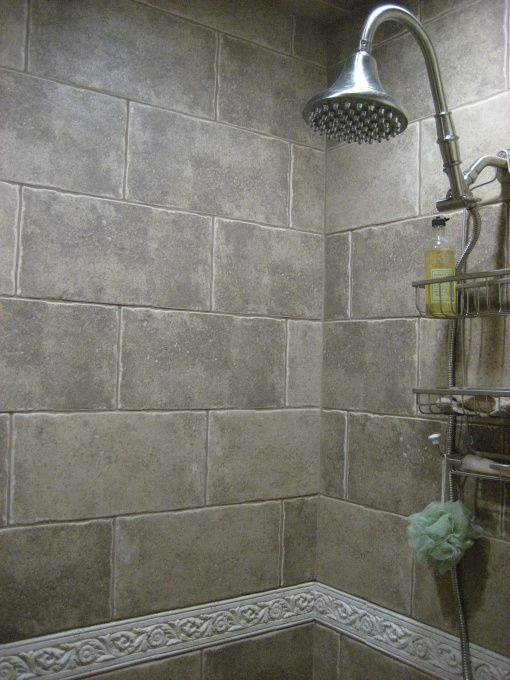 Note For This Photograph    View of Interior stonework in shower stall; once the tub enclosure. SO much better. No door on this space. A curtain is hidden in the interior archway and pulled shut to keep the splashing in!