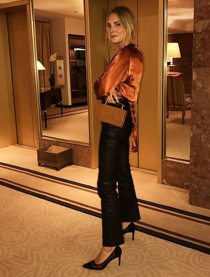 What to Wear to a Company Christmas Party: Clash your textures with satin  and leather - Don't Worry—I've Found Your Office Christmas Party Outfit For You In