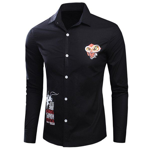 Funny Cartoon Letters Print Shirt Collar Long Sleeves Men's Slim Fit Shirt #hats, #watches, #belts, #fashion, #style