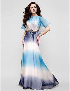 Formeller Abend Kleid - Farbverlauf Eng anliegend Rundhalsausschnitt Boden-Länge Samt Chiffon mit Kristall Brosche