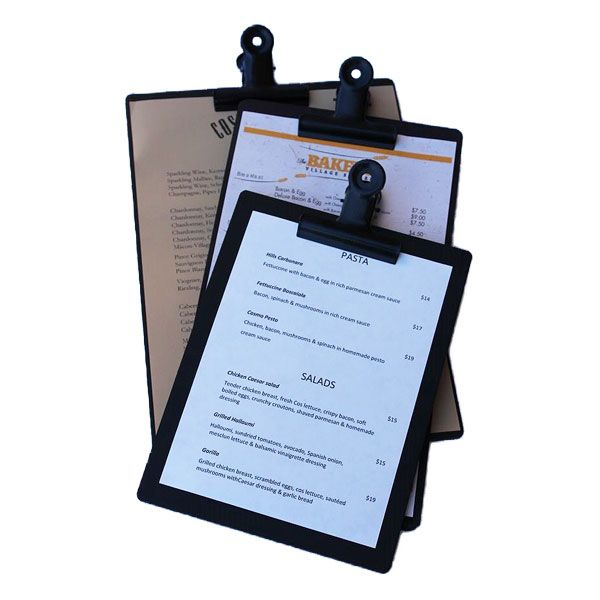 Distressed black timber restaurant clipboards