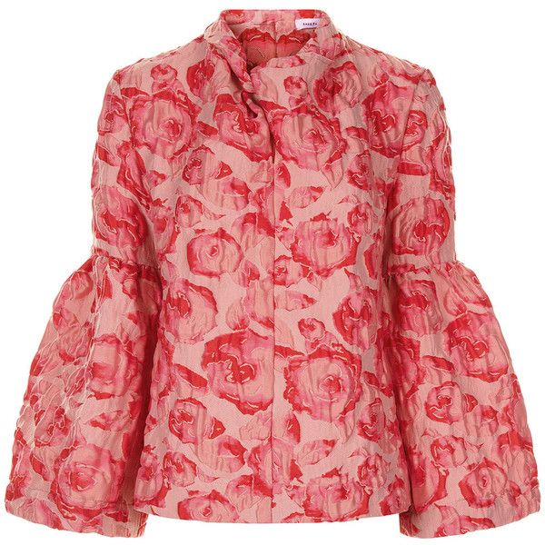 Saks Potts Pink Jacquard Flower Mouth Blouse ($335) ❤ liked on Polyvore featuring tops, blouses, red floral blouse, floral print blouse, bell sleeve tops, red blouse and flower print blouse