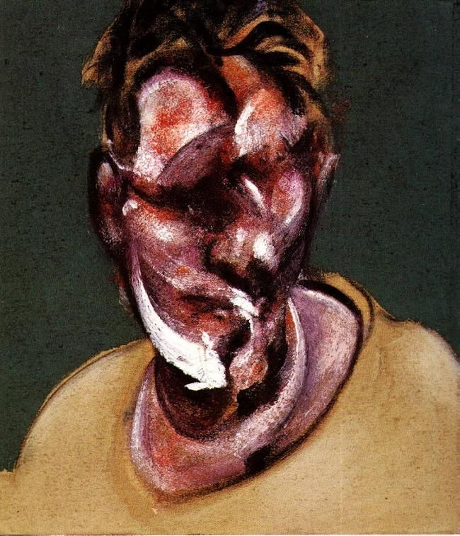 This is a portrait of Lucian Freud by Francis Bacon, Lucian Freud was a German Born British Expressionist artist,  Known chiefly for his thickly impastoed portrait and figure paintings, he was widely considered the pre-eminent British artist of his time.His works are noted for their psychological penetration, and for their often discomforting examination of the relationship between artist and model.