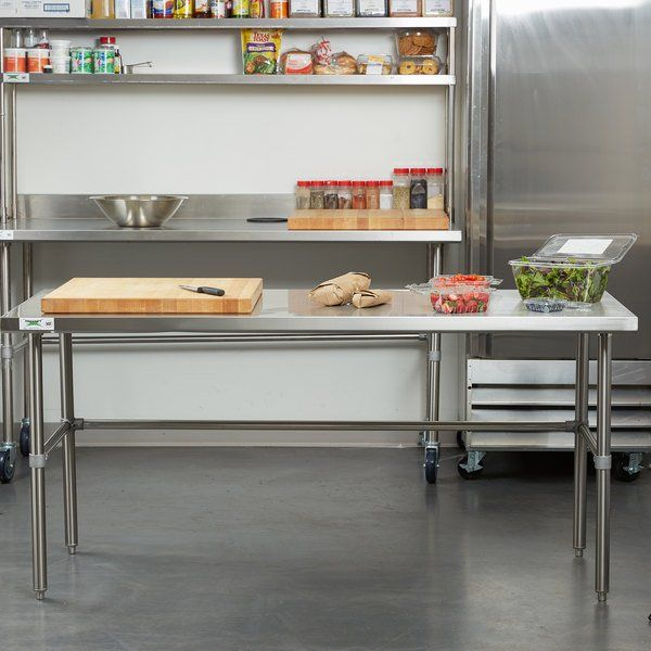 Regency 30 X 72 16 Gauge 304 Stainless Steel Commercial Open Base Work Table Kitchen Work Tables Commercial Kitchen Design Kitchen Technology