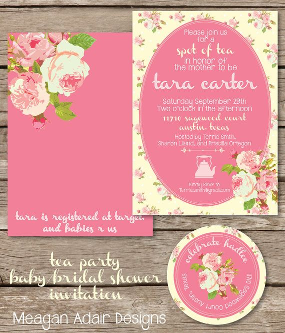 Tea Party Chic Roses Baby or Bridal Shower Invitation - Digital File on Etsy, $20.00