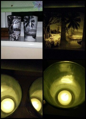 These were filled with candles and burned out. so I cleaned them up and put fake candles in each one. I love the glowing pictures on them.