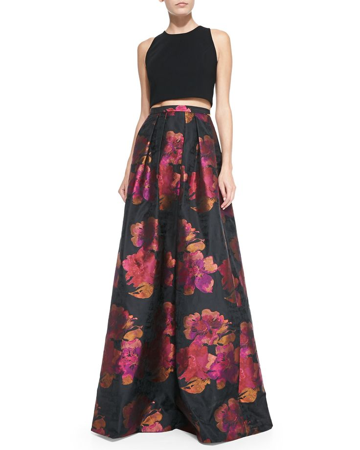 Carmen Marc Valvo Sleeveless Crop Top & Floral-Print Ball Skirt