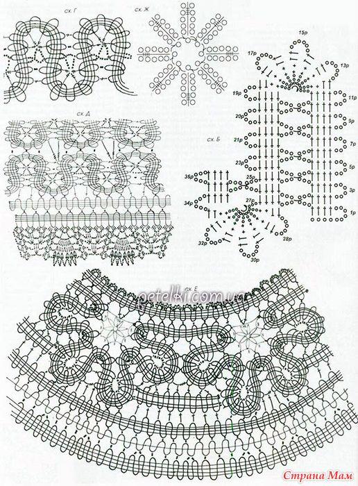 . Шикарное платье в технике брюгге. Схемы вязания, описание