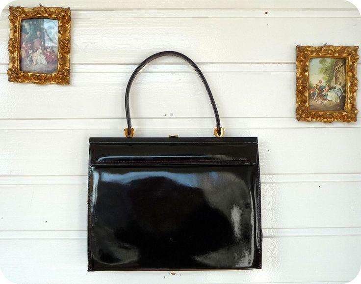 VINTAGE LUXUS LEDER Tasche Bag Schultertasche Lack Mad Men Rockabilly Handtasche in Kleidung & Accessoires, Damentaschen | eBay