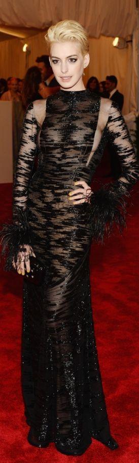 Anne Hathaway, in vintage Valentino.