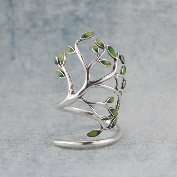Enamel leaf & Tree Branch Ring, Sterling Silver Branch Ring,Twig Ring,Tree Ring,leaf ring,tree jewelry,gift for her,leaf jewelry,Enamel ring