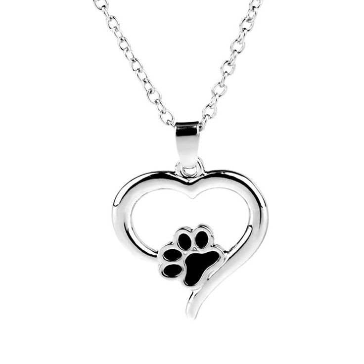 Heart Dog Cat Foot Pet Paw Print Heart Necklace